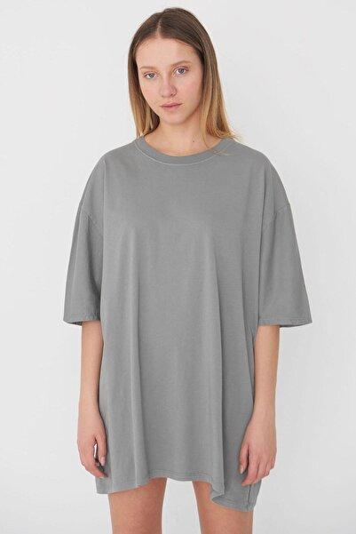 Addax Kadın Gri Oversize T-Shirt P9536 - B13 Adx-0000023955