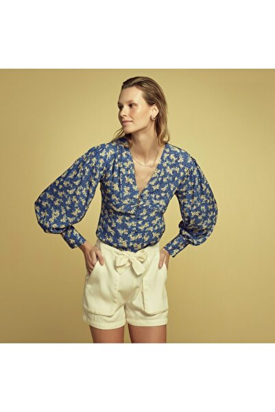 Mudo Kadın Lacivert V Yaka Çiçekli Kol Detaylı Bluz