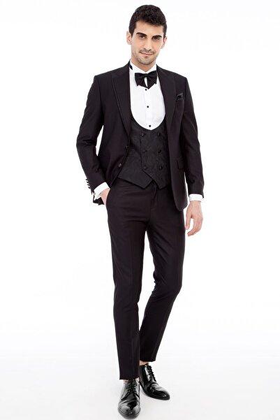 Kiğılı Erkek Siyah Smokin Takım Elbise - 69259