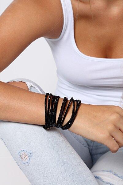 Modex Kadın Siyah Taş Ve Boncuk İşlemeli Çoklu Sarmal Bileklik BL9764