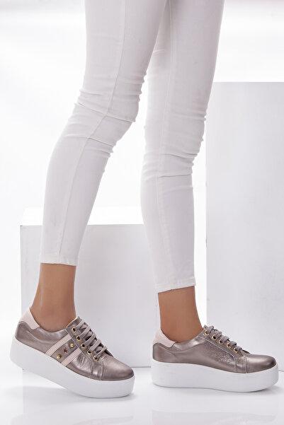 Deripabuc Modd Hakiki Deri Bronz Kadın Deri Sneaker Dp53-9302