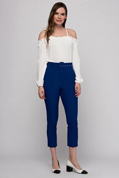 Yare Kadın Saks Kaplama Kemerli Pantolon Y-3553-YARET