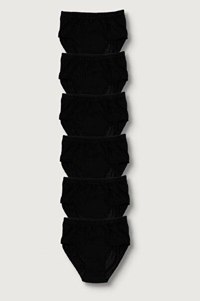 Berrak Kadın Siyah 6'Lı Paket Pamuk Ribana Yüksek Bel Bato Külot