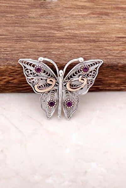 Kelebek Tasarımlı Telkari İşlemeli Gümüş Broş 315