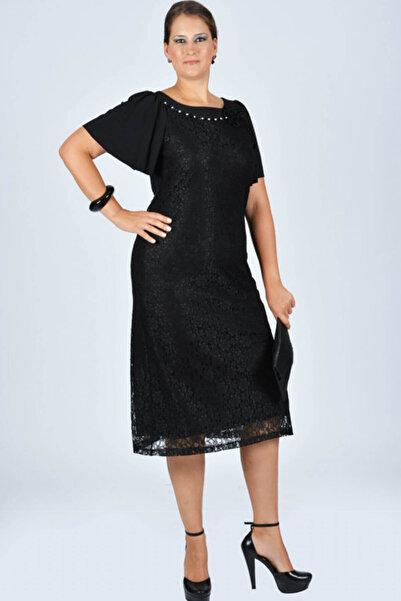 Nidya Moda Kadın Siyah Kaplama Dantel Taşlı Abiye Elbise 4026DS