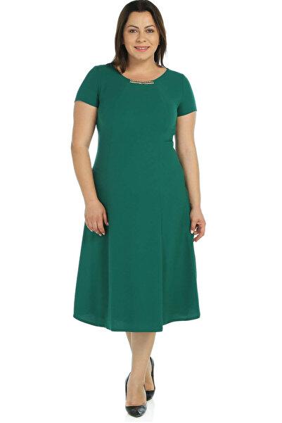 Nidya Moda Kadın Yeşil Taş Aksesuarlı Abiye Elbise 4088Y
