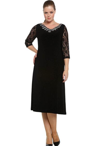 Nidya Moda Kadın Siyah Dantel Kol Taşlı Abiye Elbise 4053DS