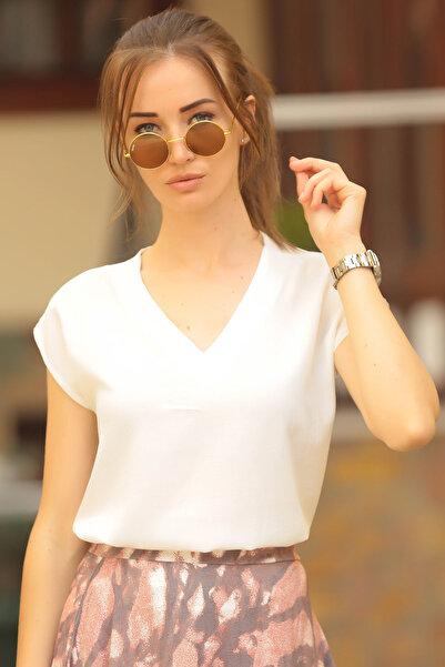 armonika Kadın Ekru Önü Kısa Arkası Uzun Kısa Kol Bluz ARM-18Y003012