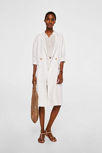 MANGO Woman Kadın Beyaz Blazer Tarz Keten Ceket 43057743