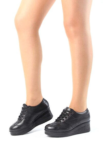 GÖN Hakiki Deri Siyah Kadın Günlük (Casual) Ayakkabı 21011