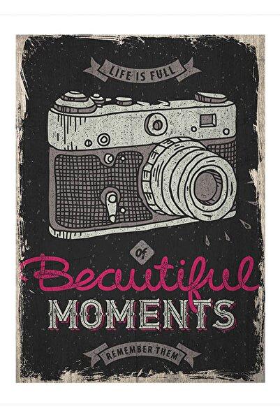 Cakatablo 50cmX70cm Ahşap Tablo Eski zeminde analog fotoğraf makinası