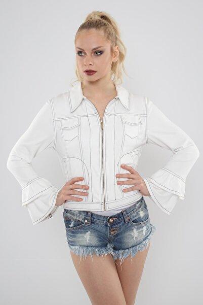 Hanna's by Hanna Darsa Kadın Beyaz   Kontrast Dikiş Detaylı Kolları Volanlı Ceket Hn514