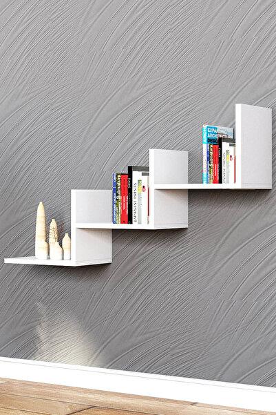 Puzzle Design Mist Beyaz Duvar Rafı Kitaplık