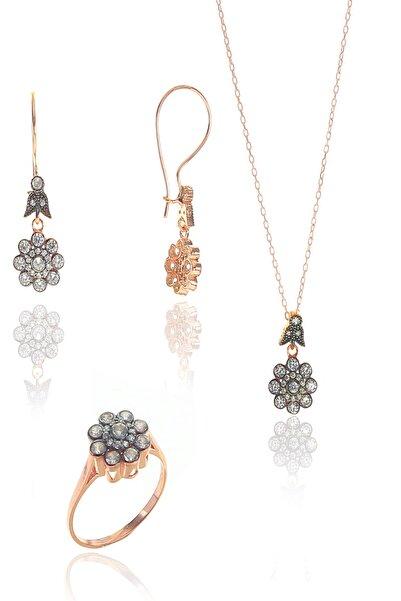 Söğütlü Silver Gümüş Rose Zirkon Taşlı Elmas Montürlü Çiçek Modeli Set 15