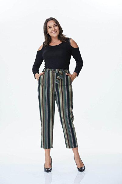 MYLİNE Kadın Beli Kemerli Çizgili Pantolon 34176