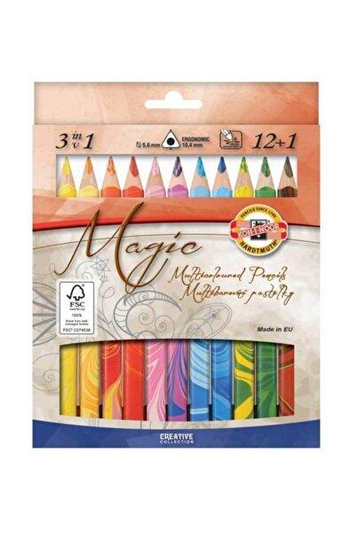 Koh-i Noor Magic Multicolour Karışık Renkli (3in1) Kalın Kuru Boya Kalemi 12+1 Renk