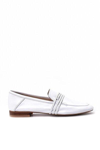 Derimod Hakiki Deri Beyaz Kadın Loafer Ayakkabı