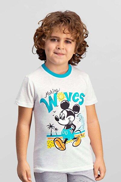 Mickey Mouse Lisanslı Krem Erkek Çocuk T-Shirt