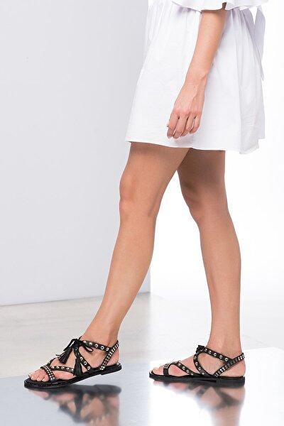 İnci Hakiki Deri Siyah Kadın Sandalet 120120519010