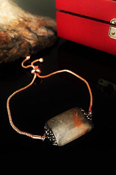 Dr. Stone Kadın Doğaltaş Peridot Taşı Rose Altın Kaplama Bileklik Krb213