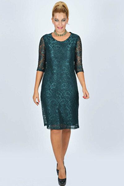 Nidya Moda Büyük Beden Dantel Yeşil Abiye Elbise-4009dy