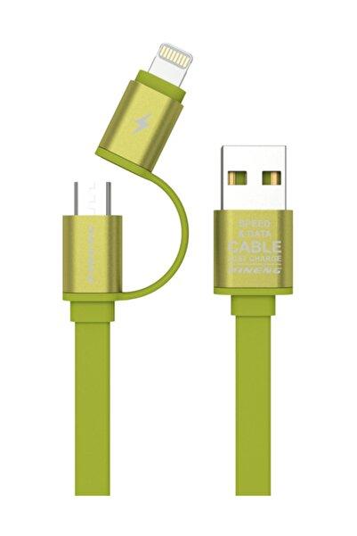 Pineng PN-304 Yüksek Hızlı Lightning ve Micro USB Yeşil Data Sarj Kablosu