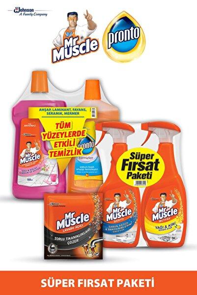 Mr. Muscle 1lt +  Pronto 750ml Yüzey Temizleyici &  Banyo+Mutfak 750ml + Lavabo Açıcı Süper Fırsat Paketi