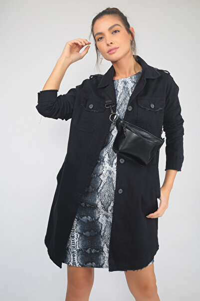 By Saygı Kadın Siyah Önü Düğmeli Cepli Kanvas Gabardin Ceket S-19K1690011