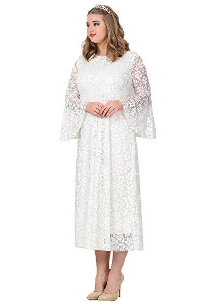 ANGELINO Kadın Beyaz Kolları Volanlı Komple Dantel Elbise KL791