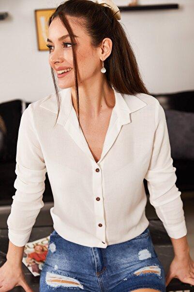 armonika Kadın Beyaz Uzun Kollu Düz Gömlek ARM-18Y001176