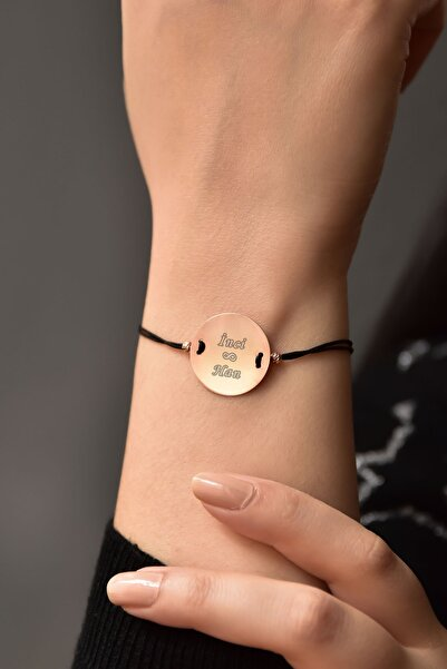 Papatya Silver 925 Ayar Gümüş Rose Kaplama Isimli Plaka Kadın Bileklik