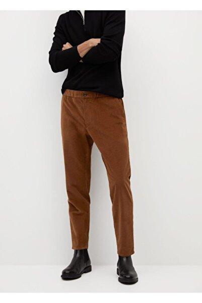 MANGO Man Daralan Kısa Paçalı Fitilli Kadife Pantolon