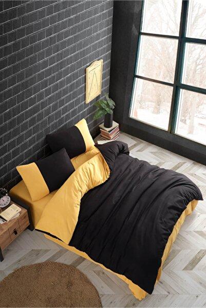 Cotton Touch Plain Series Çift Taraflı Siyah-sarı Çift Kişilik Nevresim Takımı