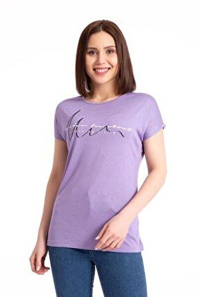 Kadın Mor A Fashion Baskılı Salaş T-shirt 19599