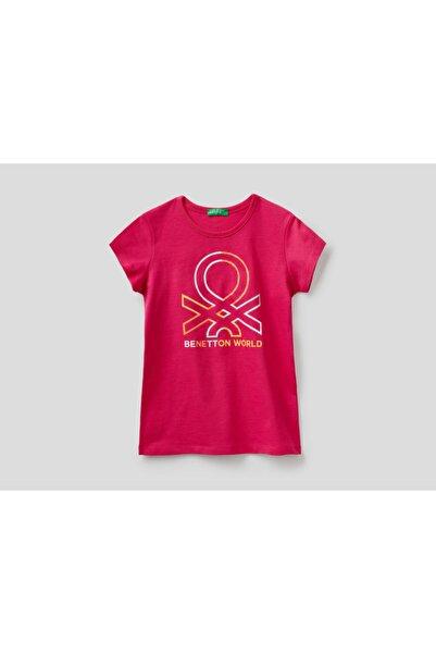 United Colors of Benetton Kız Çocuk Fuşya Benetton Yazılı Tshirt