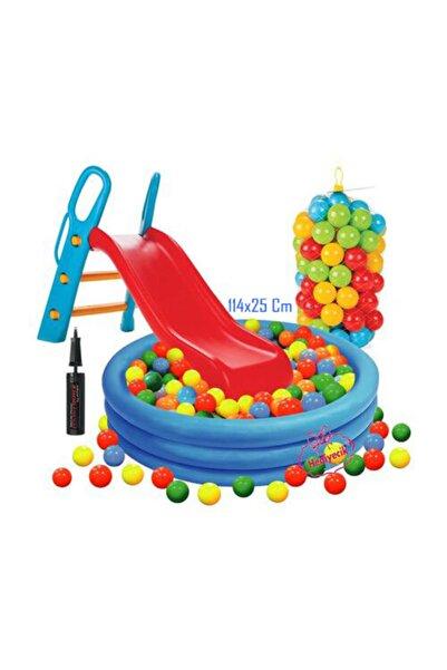 hediyecik Kaydıraklı Oyun Seti 114x25 Cm Kristal Havuz + 6 Cm 100'lü Oyun Havuz Topu + Pompa