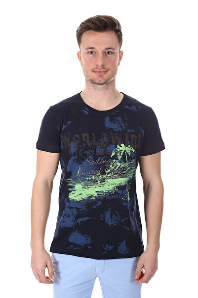 Diandor Erkek Lacivert Sıfır Yaka Tişört