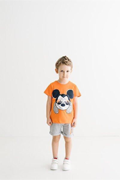 Mickey Mouse Erkek Çocuk Turuncu Kısa Kol  Lisanslı Baskılı  Takım 17290