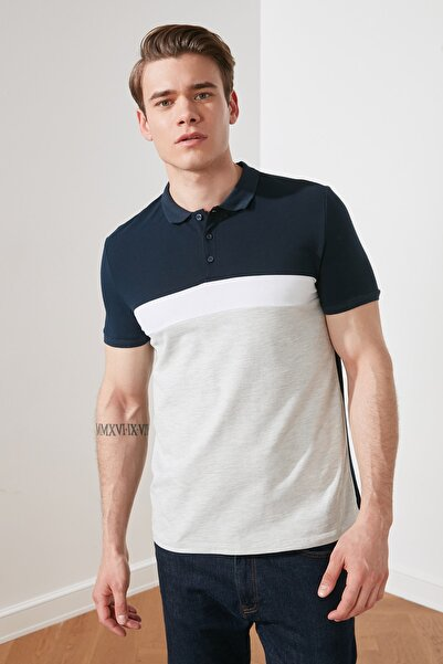 TRENDYOL MAN Lacivert Erkek Regular Fit Kısa Kollu Renk Bloklu Polo Yaka T-shirt TMNSS21PO0067