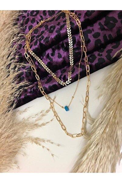 Chance Accessories Kadın Altın Renk Üçlü Zincir Mavi Boncuklu Kolye