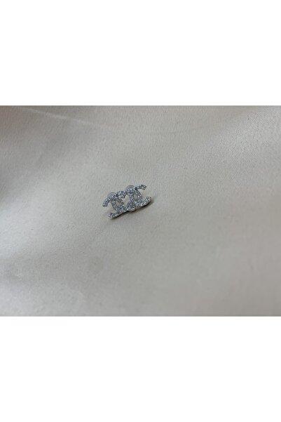 Queen B JewelryCo Chanel Model Gümüş Zirkon Taşlı Küpe