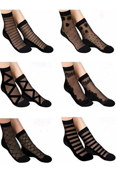 çorapmanya Kadın Desenli  Tül Çorap 6 Çift