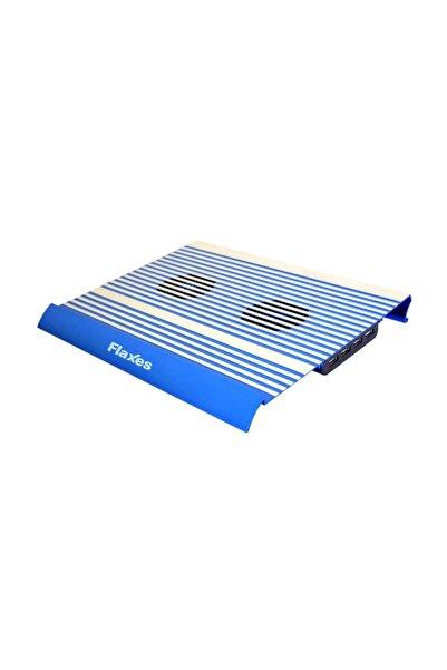 FLAXES Alüminyum Çift Fanlı 4 Usb  Mavi Notebook Soğutucu FN-3333M