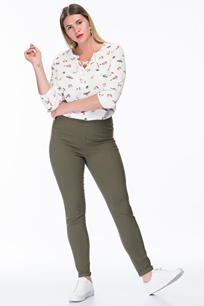 MYLİNE Kadın Haki Lastikli Strech Pantolon LSP3A