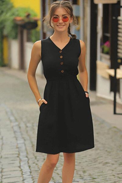 armonika Kadın Siyah Beli Lastikli Üstü Düğmeli Elbise ARM-18Y001152
