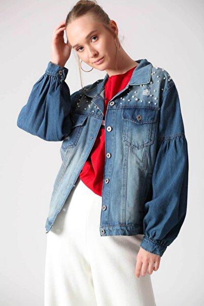 Lizbon Kadın Lacivert İnci Detaylı Kot Ceket D79619