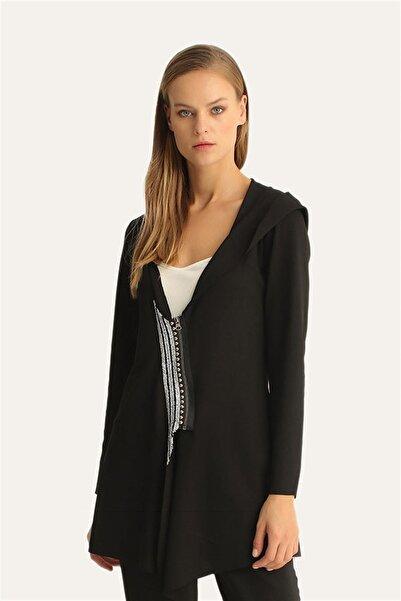 Hanna's by Hanna Darsa Kadın Siyah Boncuk İşlemeli Kapşonlu Ceket Hn1124