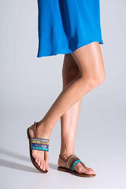 İnci Hakiki Deri Taba Kadın Sandalet 120130002343