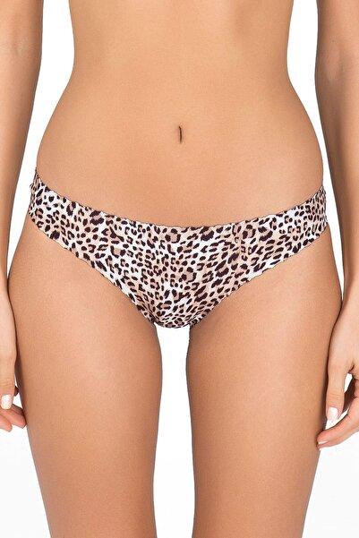 Kom Kadın Kahverengi -  Beyaz Leopar Rosalinda Bikini Altı 41BK20211