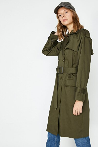 Koton Kadın Yeşil Klasik Yaka Cep Detaylı Düğme Detaylı Kemer Detaylı Trençkot 9YAK06309EW